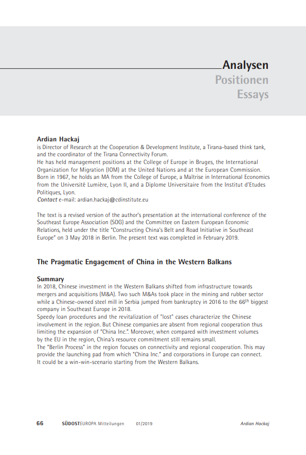 The Pragmatic Engagement of China in the Western Balkans